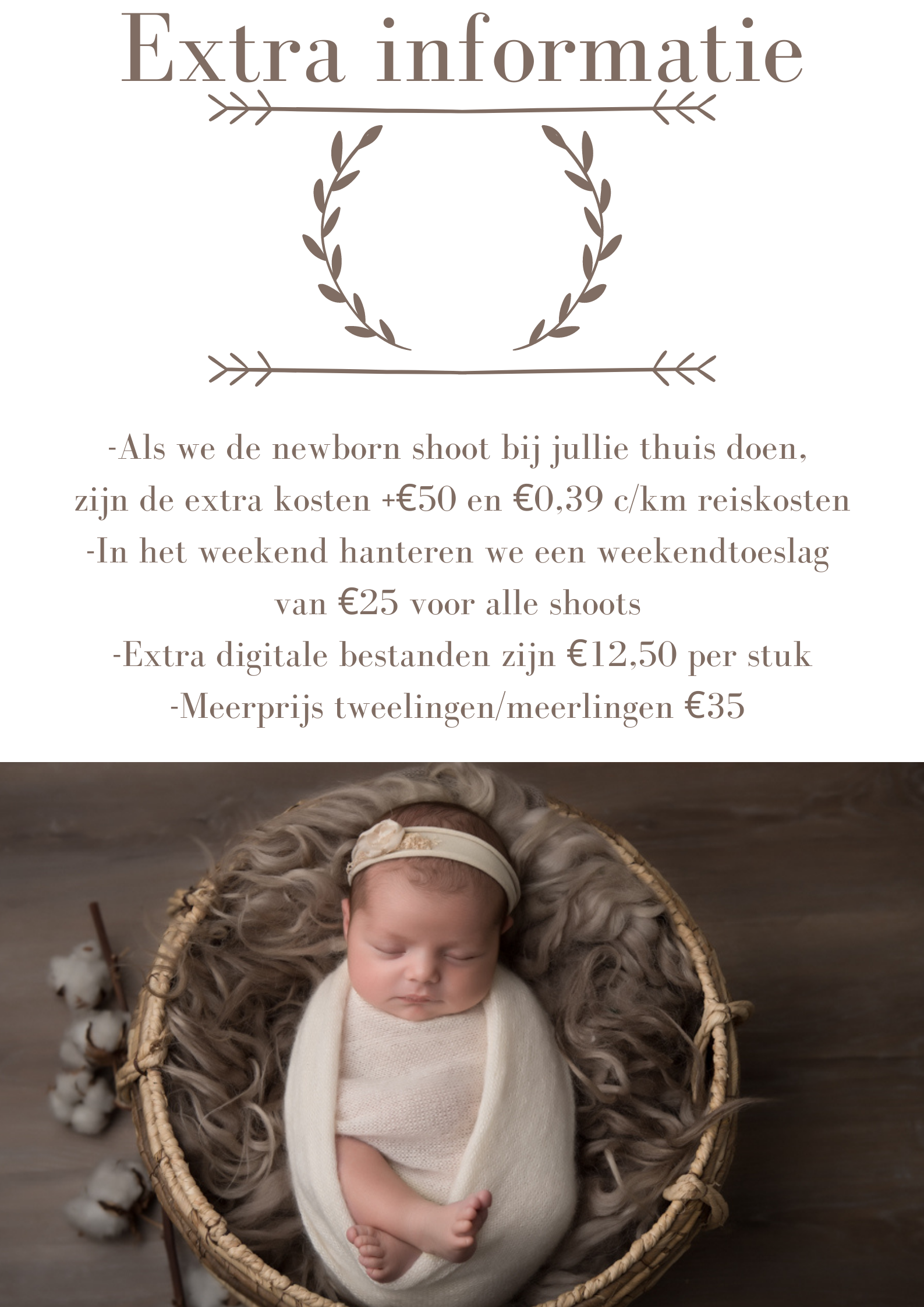 prijslijst fotoshoot newborn